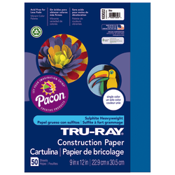 """Tru-Ray® Construction Paper, 50% Recycled, 9"""" x 12"""", Blue, Pack Of 50"""