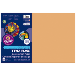 """Tru-Ray® Construction Paper, 50% Recycled, 12"""" x 18"""", Tan, Pack Of 50"""
