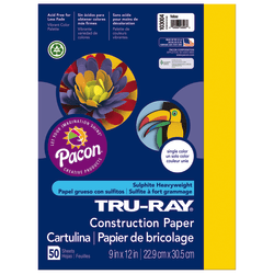 """Tru-Ray® Construction Paper, 50% Recycled, 9"""" x 12"""", Yellow, Pack Of 50"""