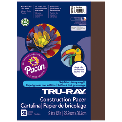 "Tru-Ray® Construction Paper, 50% Recycled, 9"" x 12"", Dark Brown, Pack Of 50"