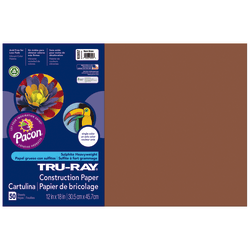 """Tru-Ray® Construction Paper, 50% Recycled, 12"""" x 18"""", Warm Brown, Pack Of 50"""