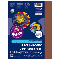 "Tru-Ray® Construction Paper, 50% Recycled, 9"" x 12"", Warm Brown, Pack Of 50"