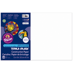 """Tru-Ray® Construction Paper, 50% Recycled, 12"""" x 18"""", White, Pack Of 50"""