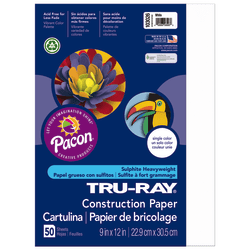 "Tru-Ray® Construction Paper, 50% Recycled, 9"" x 12"", White, Pack Of 50"