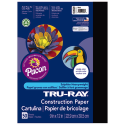 "Tru-Ray® Construction Paper, 50% Recycled, 9"" x 12"", Black, Pack Of 50"