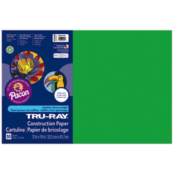 "Tru-Ray® Construction Paper, 50% Recycled, 12"" x 18"", Festive Green, Pack Of 50"