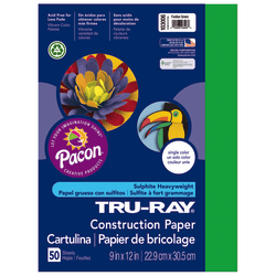 "Tru-Ray® Construction Paper, 50% Recycled, 9"" x 12"", Festive Green, Pack Of 50"