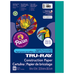 "Tru-Ray® Construction Paper, 50% Recycled, 9"" x 12"", Turquoise, Pack Of 50"