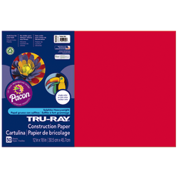 "Tru-Ray® Construction Paper, 50% Recycled, 12"" x 18"", Festive Red, Pack Of 50"