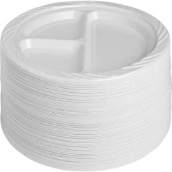 "Genuine Joe 3-section Plastic Plates - 125 / Pack - 9"" Diameter Plate - Plastic - Disposable - White - 500 Piece(s) / Carton"