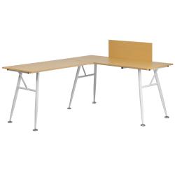Flash Furniture Contemporary Laminate L-Shape Computer Desk, Beechwood/White