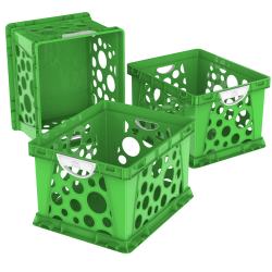 """Storex Large File Crates, With Handles, 10-1/2""""H x 14-1/4""""W x 17-1/4""""D, Classroom Green, Pack Of 3 Crates"""