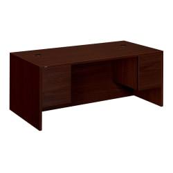 "HON® 10500 Series Double-Pedestal Desk, 72""W x 36""D, Mahogany"