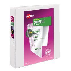 """Avery® Durable View Binders, With Slant Rings, 8 1/2"""" x 11"""", 1 1/2"""" Rings, White"""