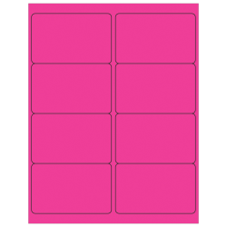 "Office Depot® Brand Labels, LL179PK, Rectangle, 4"" x 2 1/2"", Fluorescent Pink, Case Of 800"
