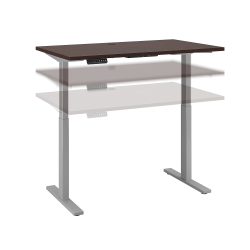 """Bush Business Furniture Move 60 Series 48""""W x 24""""D Height Adjustable Standing Desk, Mocha Cherry/Cool Gray Metallic, Standard Delivery"""