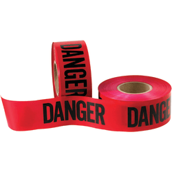 """B O X Packaging Barricade Tape, Danger, 3"""" Core, 3"""" x 333 Yd., Black/Red, Case Of 4"""