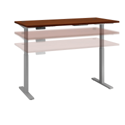 "Bush Business Furniture Move 60 Series 72""W x 30""D Height Adjustable Standing Desk, Hansen Cherry/Cool Gray Metallic, Standard Delivery"