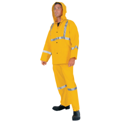 MCR Safety Three-Piece PVC Rain Suit, Large, Yellow