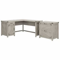 """Kathy Ireland Home by Bush® Furniture Cottage Grove 60""""W L Shaped Desk with 2 Drawer Lateral File Cabinet, Cottage White, Standard Delivery"""