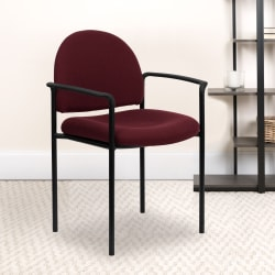 Flash Furniture Comfortable Stackable Steel Side Chair With Arms, Burgundy/Black