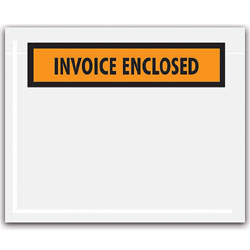 "Office Depot® Brand ""Invoice Enclosed"" Envelopes, Panel Face, Orange, 4 1/2"" x 5 1/2"" Pack Of 1,000"