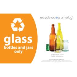 """Recycle Across America Glass Standardized Recycling Label, GLASS-5585, 5 1/2"""" x 8 1/2"""", Orange"""