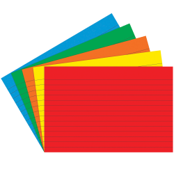 """Top Notch Teacher Products® Bright Primary Lined Index Cards, 4"""" x 6"""", Assorted Colors, 75 Cards Per Pack, Case Of 6 Packs"""