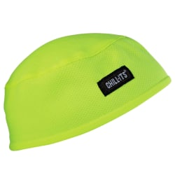 Ergodyne Chill-Its® 6630 Terry Cloth Skull Caps, Lime, Pack Of 6 Caps