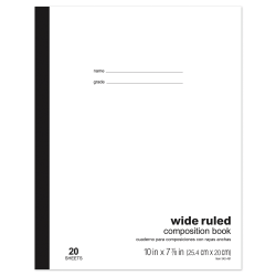 """Office Depot® Brand Schoolmate Composition Book, 7 7/8"""" x 10"""", Wide Ruled, 20 Sheets"""