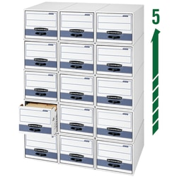 """Bankers Box® Stor/Drawer® Steel Plus™ Drawer File, Letter Size, 23 1/4"""" x 12 1/2""""W x 10 3/8"""", 60% Recycled, White/Blue, Pack Of 6"""