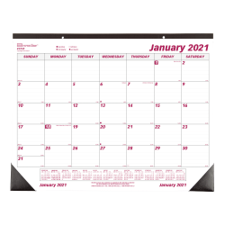 "Brownline® Classic Monthly Desk Pad Calendar, 17"" x 22"", Burgundy/Gray, January to December 2021, C1731"