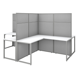 "Bush Business Furniture Easy Office 60""W 4-Person L-Shaped Cubicle Desk Workstation With 66""H Panels, Pure White/Silver Gray, Premium Installation"