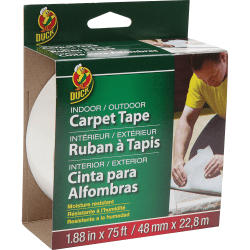 "Duck Brand Indoor/outdoor Double-sided Carpet Tape, 1.88"" x 25 Yd., White"
