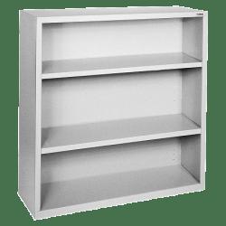 Lorell® Fortress Series Steel Bookcase, 3-Shelf, Light Gray