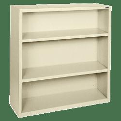 Lorell® Fortress Series Steel Bookcase, 3-Shelf, Putty