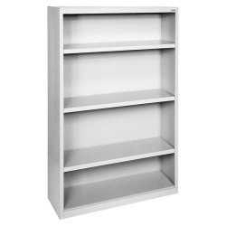 Lorell® Fortress Series Steel Bookcase, 4-Shelf, Light Gray