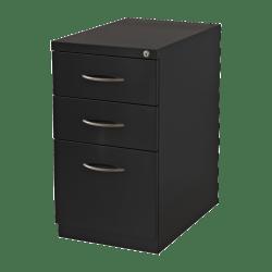 "Lorell® 19""D Vertical 3-Drawer Premium Mobile File Cabinet, Metal, Black"