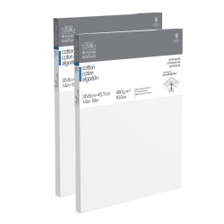 """Winsor & Newton Professional Cotton-Stretched Traditional Canvases, 14"""" x 18"""", White, Pack Of 2"""