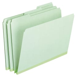 "Pendaflex® Pressboard Expanding File Folders, 1"" Expansion, Letter Size, Light Green, Box Of 25"