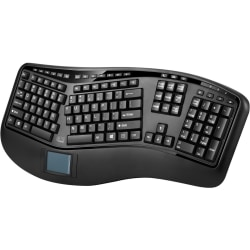 Adesso Tru-Form 4500 - 2.4GHz Wireless Ergonomic Touchpad Keyboard - Wireless Connectivity - RF - USB Interface - 105 Key - English (US) - TouchPad - Compatible with Computer (Windows) - Previous Track, Next Track, Play/Pause, Volume Up, Volume Down