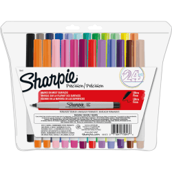 Sharpie® Precision Point Permanent Markers, Ultra-Fine Point, Assorted Colors, Set Of 24
