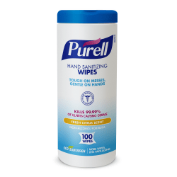 Purell® Sanitizing Wipes, Fresh Citrus Scent, Pack of 100 Wipes