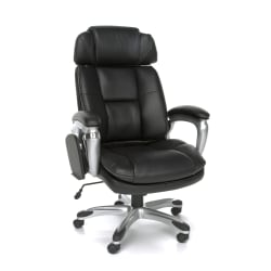 OFM ORO Bonded Leather High-Back Tablet Chair, Black/Silver