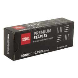 """Office Depot® Brand Staples, 1/4"""" Premium, Full Strip, Box Of 5,000"""