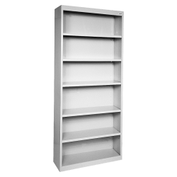 Lorell® Fortress Series Steel Bookcase, 6-Shelf, Light Gray