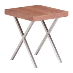Zuo Modern Renmen Side Table, Square, Walnut/Silver