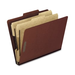 """Oxford® Pressboard Classification Folders, Letter Size, 2"""" Expansion, 2 Dividers, 70% Recycled, Red, Box Of 10"""