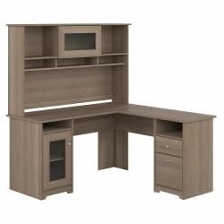 "Bush Furniture Cabot 60""W L-Shaped Computer Desk With Hutch, Ash Gray, Standard Delivery"