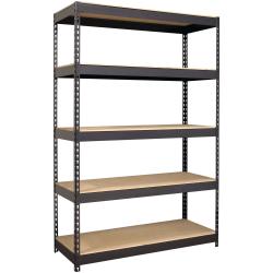 "Lorell® 5-Shelf Riveted Steel Shelving, 72""H x 48""W x 18""D, Black"